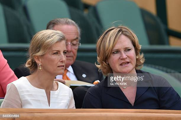 Britain's Sophie Countess of Wessex and Annabelle Galletley watch the women's semifinal match on the eleventh day of the 2016 Wimbledon Championships...