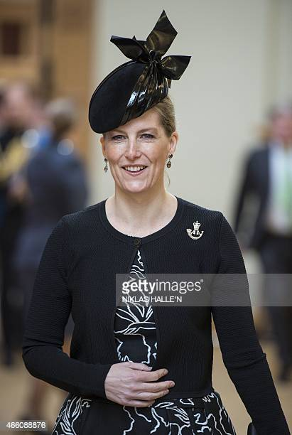 Britain's Sophie Countess of Wessex arrives for a reception at the Honourable Artillery Company in London on March 13 to mark the end of Britain's...
