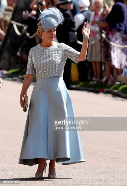 Britain's Sophie Countess of Wessex arrives for the wedding ceremony of Britain's Prince Harry Duke of Sussex and US actress Meghan Markle at St...