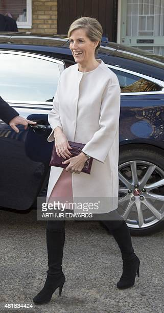 Britain's Sophie Countess of Wessex arrives to attend a visit to Tomorrow's People Social Enterprises St Anselm's Church in London on January 20 her...