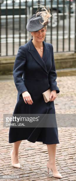 Britain's Sophie Countess of Wessex attends a Commonwealth Day Service at Westminster Abbey in central London on March 12 2018 Britain's Queen...