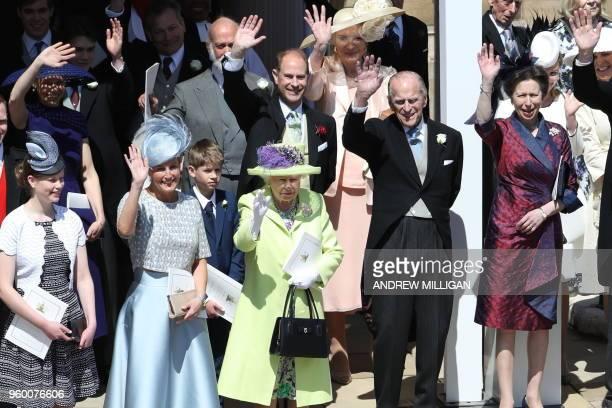 TOPSHOT Britain's Sophie Countess of Wessex Britain's Queen Elizabeth II Britain's Prince Philip Duke of Edinburgh and Britain's Princess Anne...