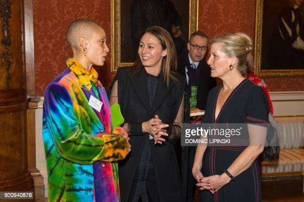 Britain's Sophie Countess of Wessex model Adwoah Aboah and Chief Executive of the British Fashion Council Caroline Rush chat during a reception to...