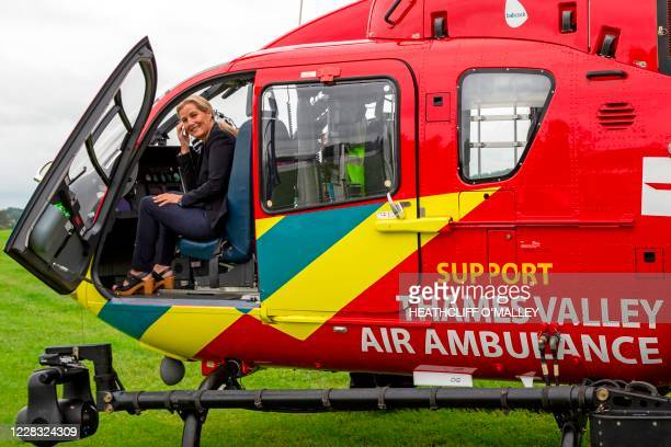 Britain's Sophie Countess of Wessex reacts during her visit to Thames Valley Air Ambulance near Maidenhead west of London on September 3 where she...
