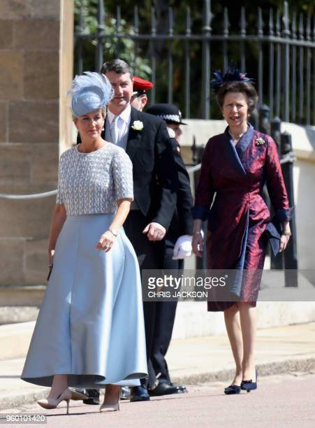 Britain's Sophie Countess of Wessex Vice Admiral Timothy Laurence and Britain's Princess Anne Princess Royal arrive for the wedding ceremony of...