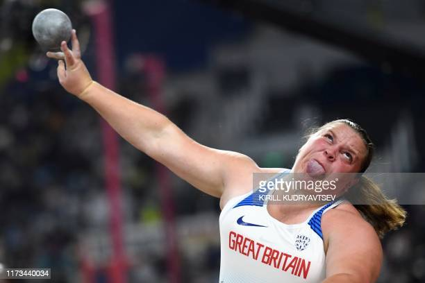 TOPSHOT Britain's Sophie McKinna competes in the Women's Shot Put final at the 2019 IAAF Athletics World Championships at the Khalifa International...