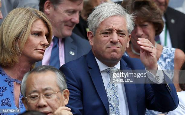Britain's speaker of the House of Commons John Bercow and his wife Sally sit in the Royal Box on Centre Court during the women's singles semifinals...