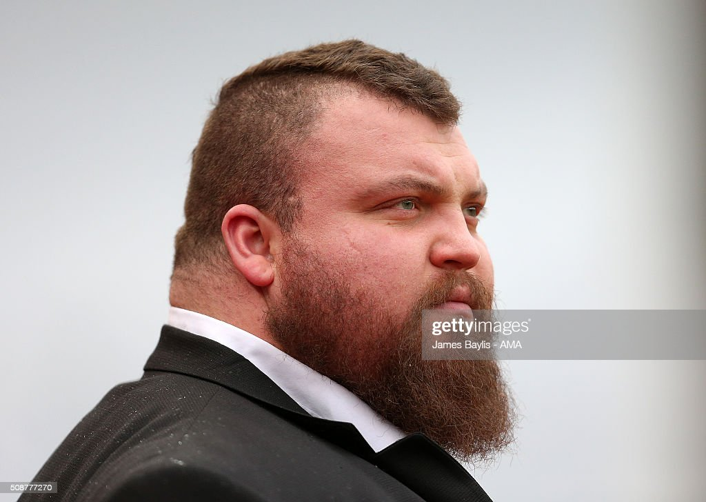 Britains Strongest Man Eddie Hall attends the match between Stoke City and Everton at the Britannia Stadium on February 06, 2016 in Stoke-on-Trent, England.