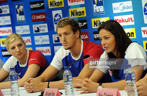 Britain's swimmers Rebecca Adlington Adam Brown and KeriAnne Payne give a press conference at the indoor stadium of the Oriental Sports Center during...