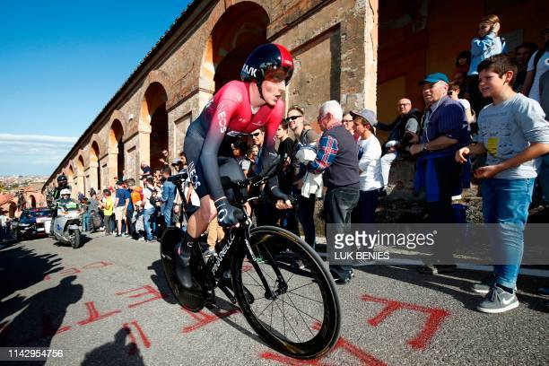 Britain's Tao Geoghegan Hart rides in the ascent of San Luca during the first stage of the 2019 Giro d'Italia the cycling Tour of Italy an 8kilometer...