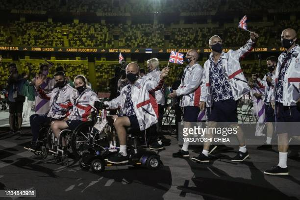 Britain's team arrive during the opening ceremony for the Tokyo 2020 Paralympic Games at the Olympic Stadium in Tokyo on August 24, 2021.