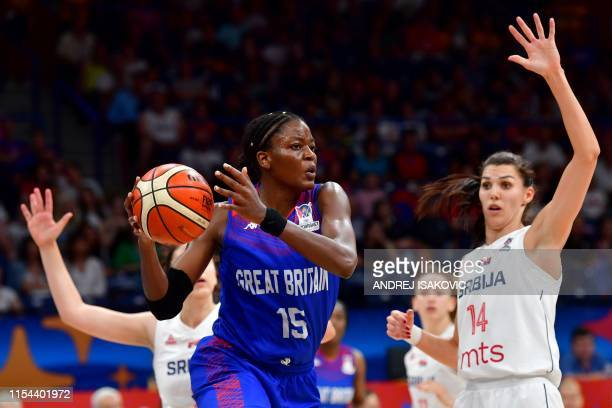 Britain's Temi Fagbenle moves past Serbia's Dragana Stankovic during the Women's Eurobasket 2019 third place basketball match between Serbia and...