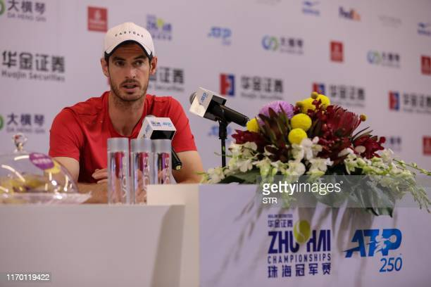 Britain's tennis player Andy Murray attends a press conference ahead of the ATP Zhuhai Championships in Zhuhai in China's southern Guangdong province...