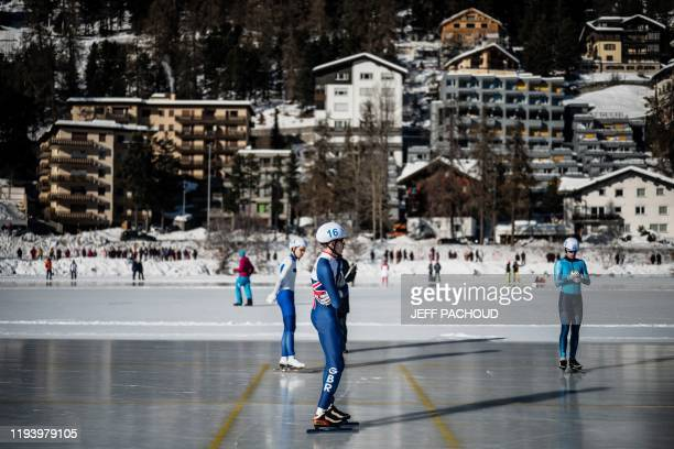 Britain's Theo Collins readies to compete in the Mens Mass Start semifinal 1 Speed Skating event on the St Moritz Speed Skating Oval at St Moritz in...