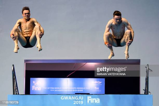 Britain's Thomas Daley and Britain's Matthew Lee compete in the men's synchronised 10m platform diving final during the 2019 World Championships at...