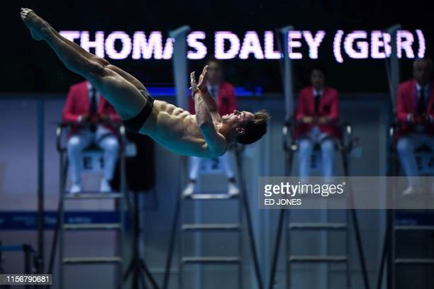 Britain's Thomas Daley competes in the men's 10m platform diving final during the 2019 World Championships at the Nambu International Aquatics Centre...