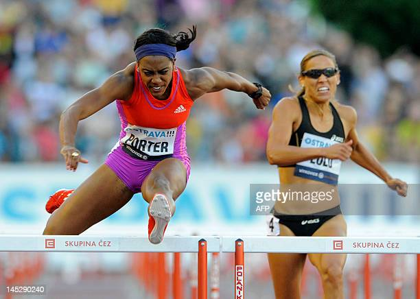 Britain's Tiffany Porter and US Lolo Jones compete in the women's 110 metres hurdles at the IAAF World Challenge Zlata Tretra athletics meeting in...