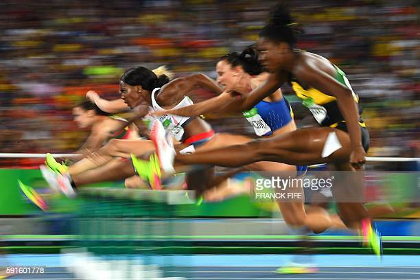 Britain's Tiffany Porter competes in the Women's 100m Hurdles Semifinal during the athletics event at the Rio 2016 Olympic Games at the Olympic...