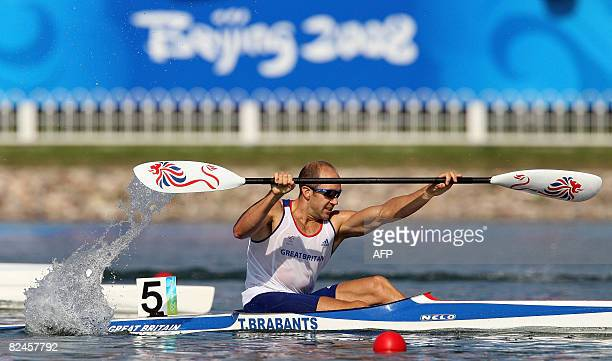Britain's Tim Brabants competes in the 2008 Beijing Olympic Games Men's Kayak K1 500m flatwater event at the Shunyi Rowing and Canoeing Park in...