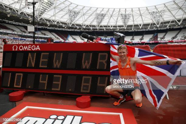 US Sam Kendricks celebrates after winning the Men's Pole vault event during the anniversary games at the London stadium in London on July 21 2018
