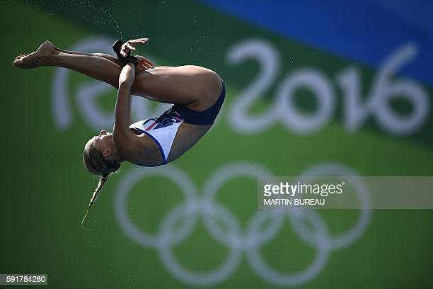 TOPSHOT Britain's Tonia Couch takes part in the Women's 10m Platform Semifinal during the diving event at the Rio 2016 Olympic Games at the Maria...
