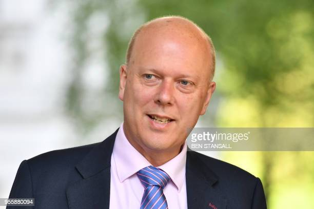 Britain's Transport Secretary Chris Grayling arrives at 10 Downing Street in central London for the weekly cabinet meeting on May 8 2018