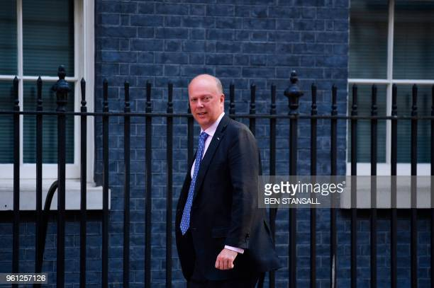 Britain's Transport Secretary Chris Grayling arrives at 10 Downing Street in central London on May 22 2018 for a meeting of the cabinet