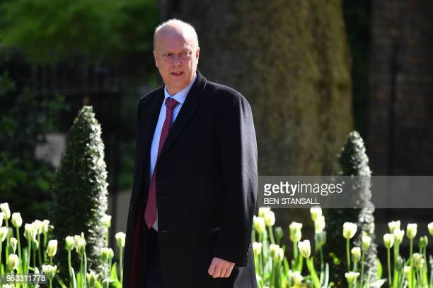 Britain's Transport Secretary Chris Grayling arrives to attend the weekly meeting of the cabinet at Downing Street in central London on May 1 2018