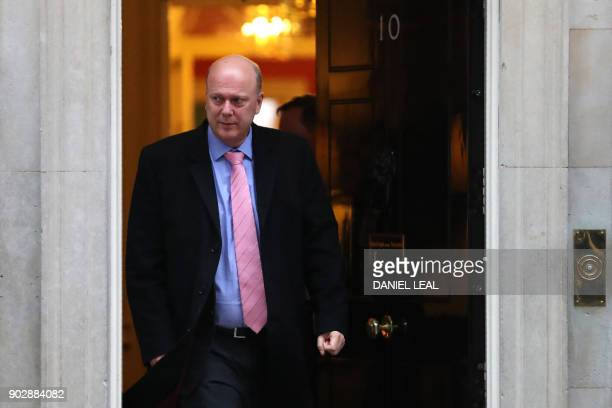 Britain's Transport Secretary Chris Grayling leaves 10 Downing street in central London for the first cabinet meeting of the new year following a...