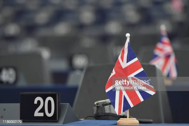 Britain's Union Jack national flag is pictured in front of former UK Independence Party leader and Brexit spearhead Nigel Farage's seat during a...
