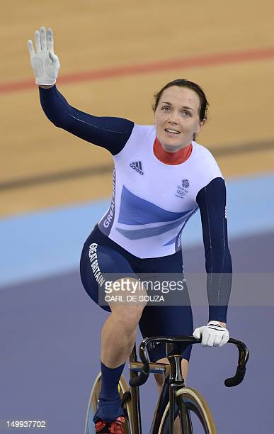 Britain's Victoria Pendleton acknowledges the crowds after losing to Australia's Anna Meares in the London 2012 Olympic Games women's sprint final...