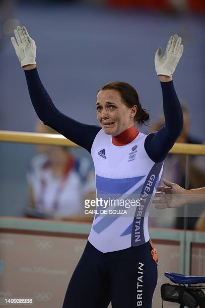 Britain's Victoria Pendleton reacts after losing to Australia's Anna Meares in the London 2012 Olympic Games women's sprint final cycling event at...