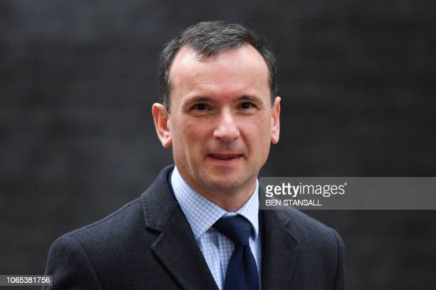 Britain's Wales Secretary Alun Cairns leaves 10 Downing Street in London on November 26 2018 after attending the weekly meeting of the cabinet...