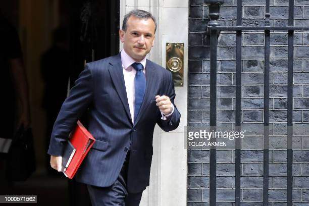 Britain's Wales Secretary Alun Cairns leaves 10 Downing Street in central London after attending the weekly cabinet meeting on July 17 2018