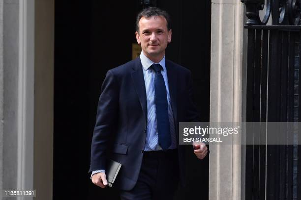 Britain's Wales Secretary Alun Cairns leaves after attending a meeting at 10 Downing street in central London on April 8 2019 European capitals are...