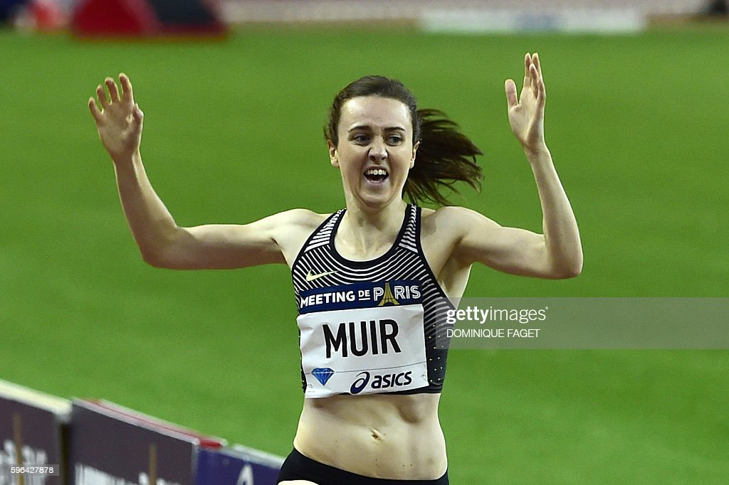 Britain's women's 1500m runner Laura Muir competes at the IAAF Diamond League athletics meeting in Saint-Denis, near Paris, on August 27, 2016. / AFP / DOMINIQUE