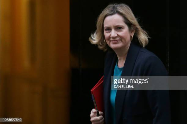 Britain's Work and Pensions Secretary Amber Rudd attends the weekly meeting of the cabinet at 10 Downing Street in London on November 20 2018