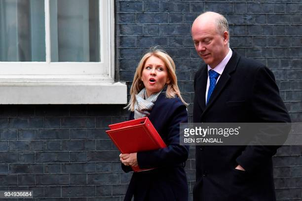 Britain's Work and Pensions Secretary Esther McVey and Britain's Transport Secretary Chris Grayling arrive at Downing Street in central London on...