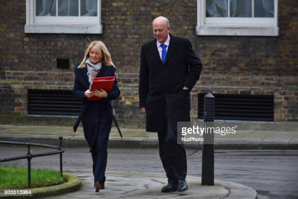 Britain's Work and Pensions Secretary Esther McVey and Britain's Transport Secretary Chris Grayling arrive at Downing Street to attend the weekly...