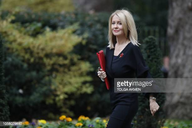 Britain's Work and Pensions Secretary Esther McVey arrives to attend the weekly meeting of the cabinet at 10 Downing Street in London on November 6...