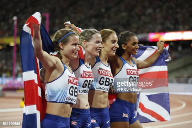 Britain's Zoey Clark Britain's Laviai Nielsen Britain's Eilidh Doyle and Britain's Emily Diamond celebrate silver in the final of the women's 4x400m...