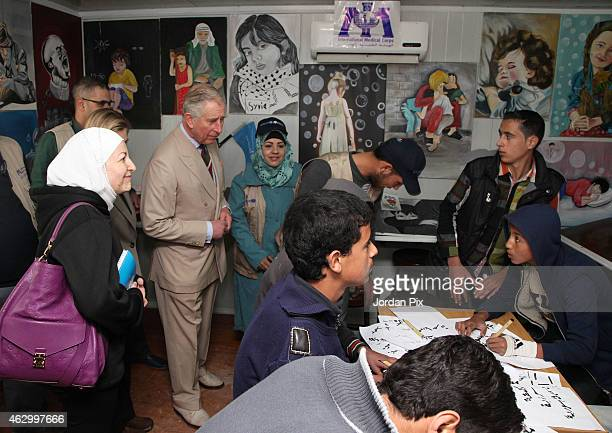 Britains's Prince Charles The Prince of Wales accompanied by British International Development Secretary Justine Greening visits Al Zaatari camp for...