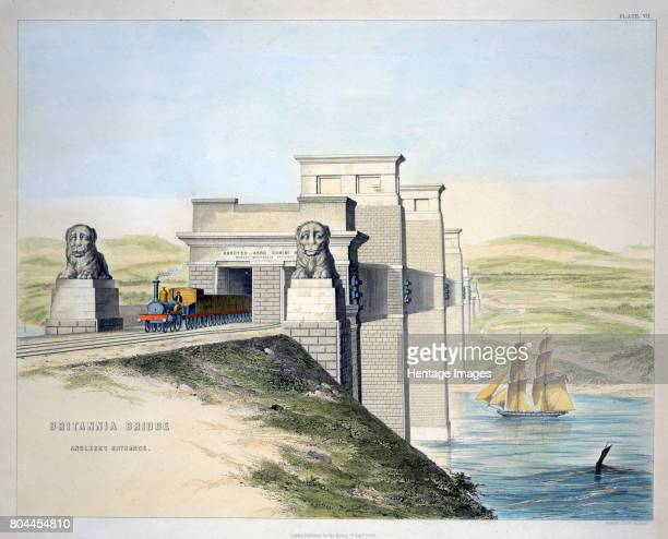 Britannia Bridge Anglesey Entrance' Wales 1849 The Britannia Tubular Bridge was designed by Robert Stephenson and was completed in 1850 It was...