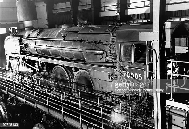 Britannia' class 4-6-2 locomotive 'John Milton' on the test rig at British Railways' Rugby Locomotive Testing Station, c early 1950s. The engine runs...