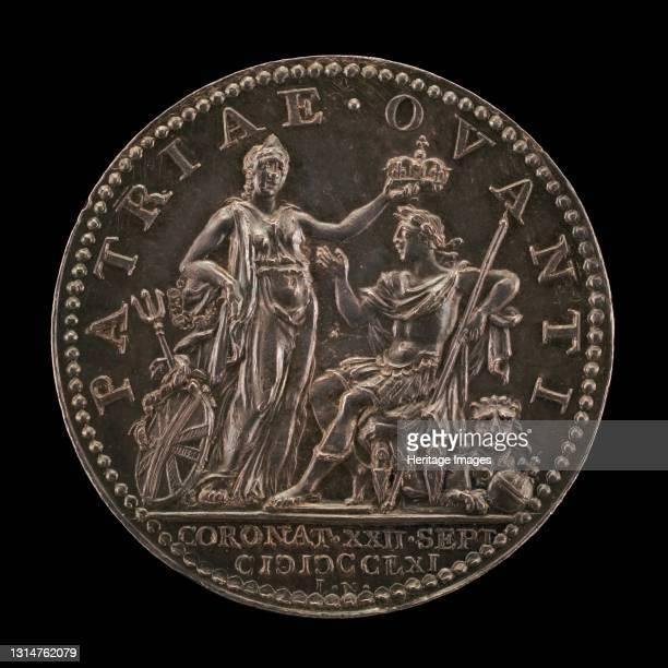 Britannia Crowning the King [reverse], 1761. Artist Johann Lorenz Natter.