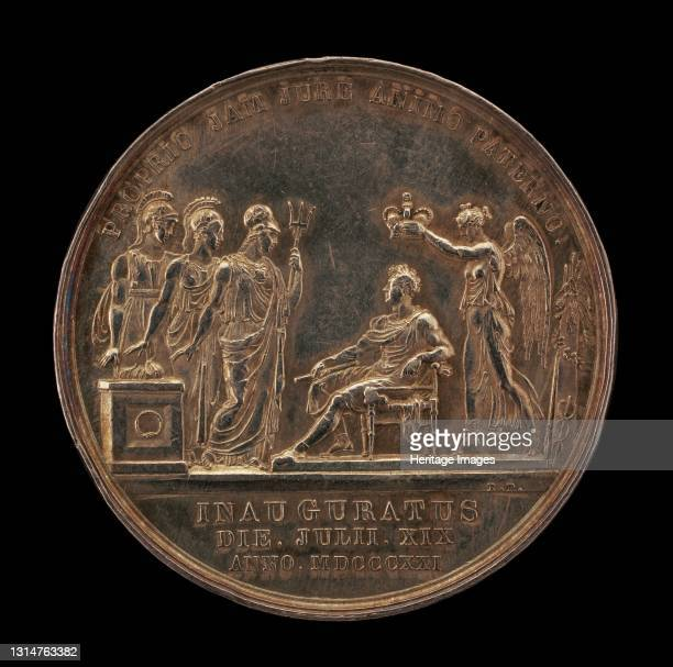 Britannia, Scotia, and Hibernia Offering Thanks for the King's Coronation by Genius [reverse], 1821. Artist Benedetto Pistrucci.