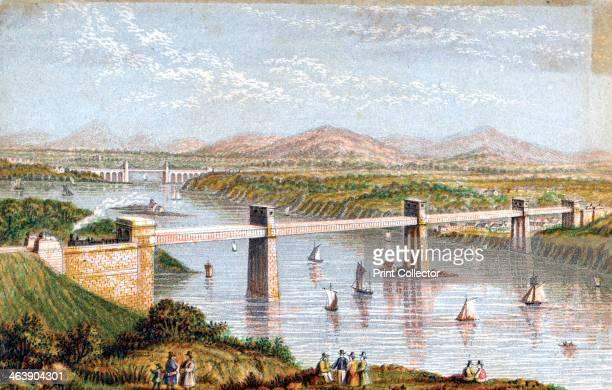 Britannia Tubular Bridge over Menai Straits Wales c 1850s The Britannia Tubular Bridge was designed by Robert Stephenson Construction began in 1846...