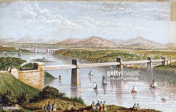 Britannia Tubular Bridge over Menai Straits Wales Chester and Holyhead Railway Begun 1846 opened 18 March 1850 Engineer Robert Stephenson Box Girder...