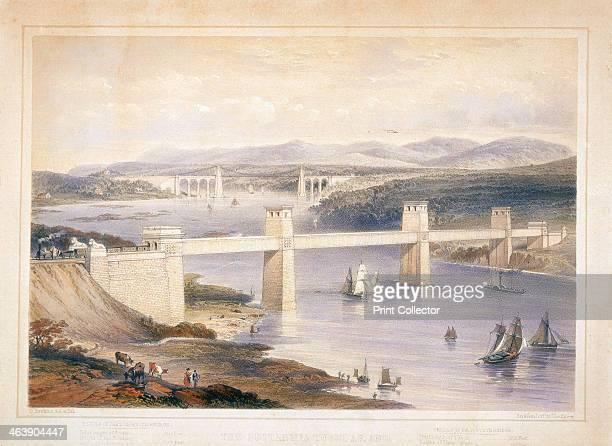 Britannia Tubular Bridge over the Menai Straits Wales c 1850c1852 The Britannia Tubular Bridge was designed by Robert Stephenson Construction began...