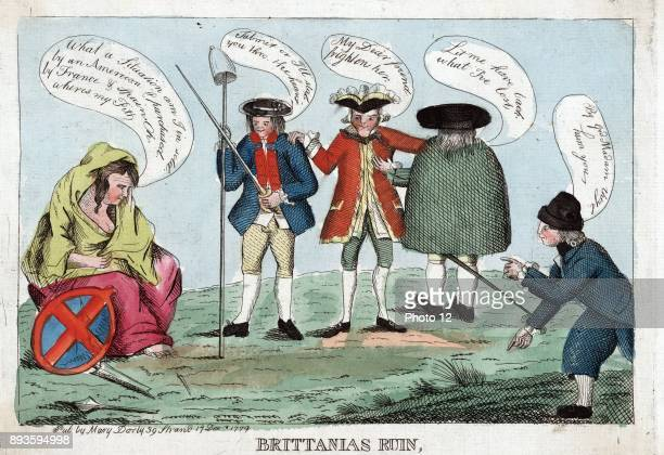 Britannias ruin 1779Britannias ruin Print shows Britannia lamenting her present state her shield and broken lance by her side 'What a situation am I...